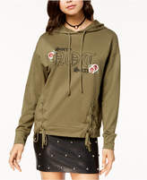 Pretty Rebellious Juniors' Lace-Up Graphic Hoodie