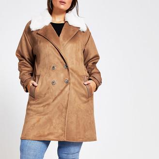 River Island Plus brown suedette duster jacket