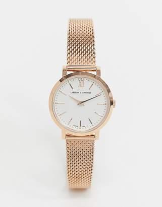 Larsson & Jennings Lugano mesh watch in rose gold 26mm