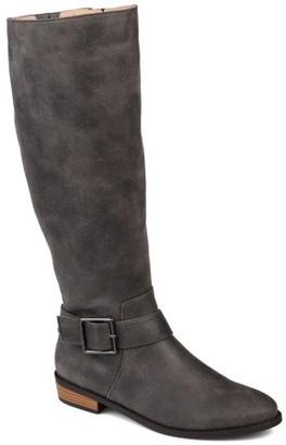 Brinley Co. Womens Wide Calf Knee-high Buckle Riding Boot
