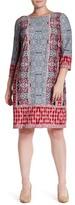 London Times MJ Boatneck Print Shift Dress (Plus Size)
