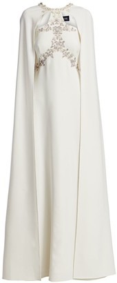 Marchesa Embellished A-Line Cape Gown