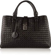 Bottega Veneta Roma Large Intrecciato Leather Tote - Dark brown