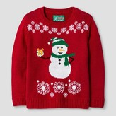 Ugly Christmas Sweater Toddler Girls' Snowman Sweater - Cayenne Red