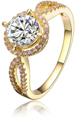 Collette Z Sterling Silver Gold Plated Cubic Zirconia Bold Statement Ring - White