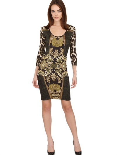 Just Cavalli Patch Tapisserie Stretch Jersey Dress