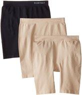 Ellen Tracy Women's 3 Pack Flawless Fit Seamless Slip Short Panty, Sun Beige/Sun Beige/Black