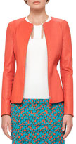 Akris Leather Zip-Front Jacket, Rojo