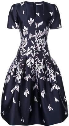 Oscar de la Renta floral embroidered midi dress