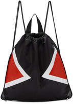 Neil Barrett Black and Red Contrast Detail Drawstring Backpack