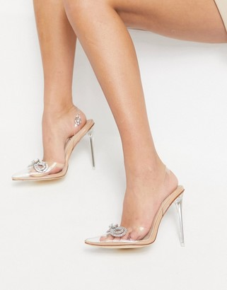 Simmi Shoes Simmi London Karoline heeled shoes with diamante bow in beige