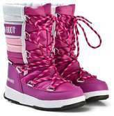 Moon Boot Quilted Pink and White Snow Boot