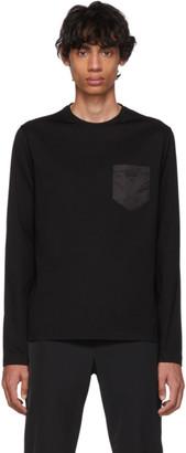 Prada Black Satin Pocket Long Sleeve T-Shirt