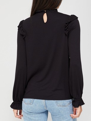 Very Long Sleeve Shirred Top - Black