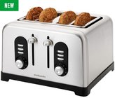 Cookworks Premium 4 Slice Toaster - Stainless Steel