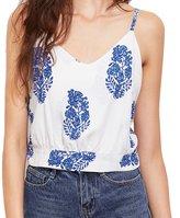 Aribelly Womne's Summer Leaf Print Cami Top Cold Shoulder Blouse (L, )