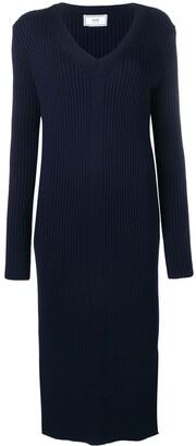 Ami Long Dress V Collar