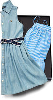 Ralph Lauren 7-16 Cotton Dress 2-Piece Gift Set