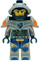 Lego Nexo Knights Clay Kids Minifigure Light Up Alarm Clock | blue/grey | plastic | 9.5 inches tall | LCD display | boy girl | official