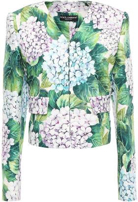 Dolce & Gabbana Cropped Floral-print Cotton-blend Jacquard Jacket