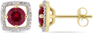 FINE JEWELRY Diamond Accent Lab Created Red Ruby 10K Gold Ear Pins