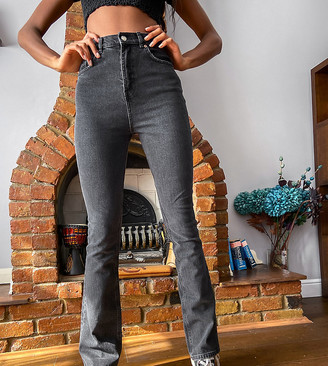 Asos Tall ASOS DESIGN Tall high rise '70's' kick flare jeans in washed black