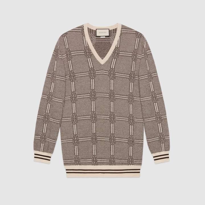 Gucci Jacquard wool cashmere sweater