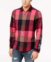 GUESS Men's Check Camo Check Pattern-Blocked Shirt