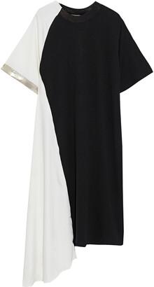 Clu Asymmetric Metallic-trimmed Jersey And Satin-will Dress