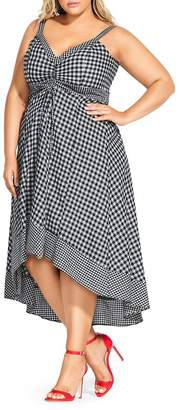 City Chic Plus Sleeveless Gingham High-Low Dress