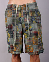 Tailor Vintage Patchwork Shorts in Green and Navy With Flowers