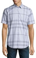 Burberry Modern Point Exploded Check Short-Sleeve Sport Shirt, Pale Gray