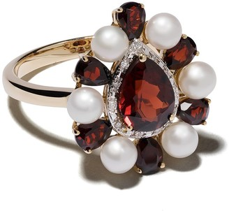Anissa Kermiche 14kt yellow gold Woman in Red garnet, pearl and diamond ring