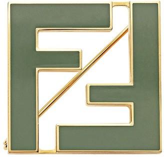 Fendi two-tone FF brooch
