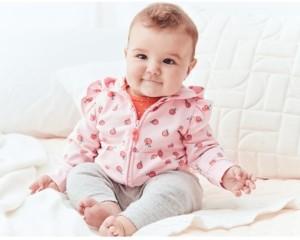 Carter's Baby Girls 3-Pc. Cotton Peach Hoodie, Bodysuit & Leggings Set