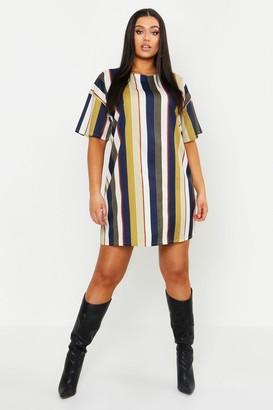boohoo Plus Tonal Stripe Short Sleeved Shirt Dress