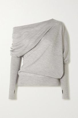 Tom Ford Off-the-shoulder Cashmere And Silk-blend Sweater - Gray