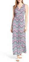 Loveappella Petite Women's Shirred Waist Jersey Maxi Dress