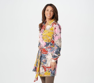 Susan Graver Petite Printed Stretch Charmeuse Duster