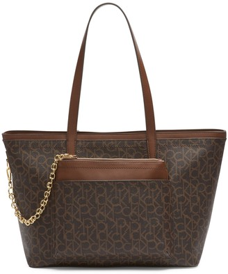 Calvin Klein Beverly Monogram Tote With Pouch