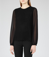 Reiss Villa LACE-BODY BLOUSE