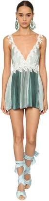 Raisa & Vanessa Pleated Satin Lace Mini Dress
