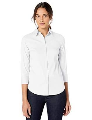 Lark & Ro Stretch Poplin 3/4 Sleeve Shirt Dress,14