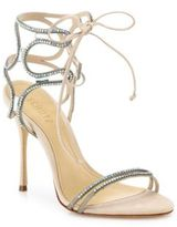 Schutz Cristen Crystal-Embellished Leather Sandals