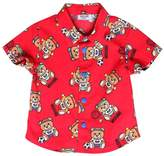 Moschino Bear Print Stretch Cotton Poplin Shirt