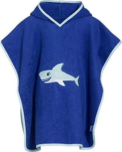 Playshoes Boys Terry Cotton Bath Poncho - Shark - Blue