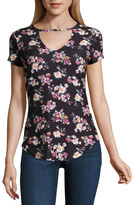 Almost Famous Short Sleeve V Neck Jersey Floral Blouse-Juniors