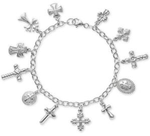 Giani Bernini Multiple Cross Charm Bracelet in Sterling Silver, Created For Macy's