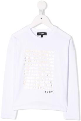 DKNY metallic slogan T-shirt