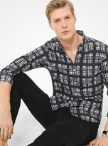 Michael Kors Slim-Fit Painterly Madras Cotton-Poplin Shirt